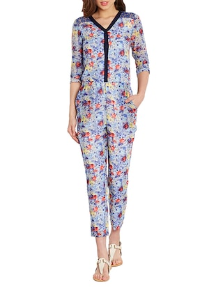 blue cotton full leg  jumpsuit