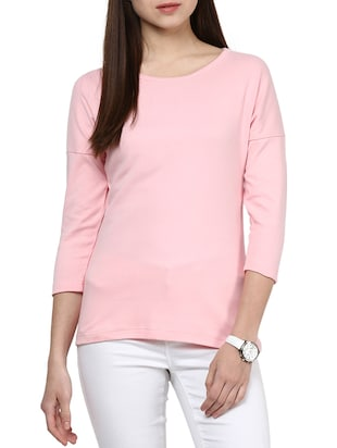 pink cotton regular tee