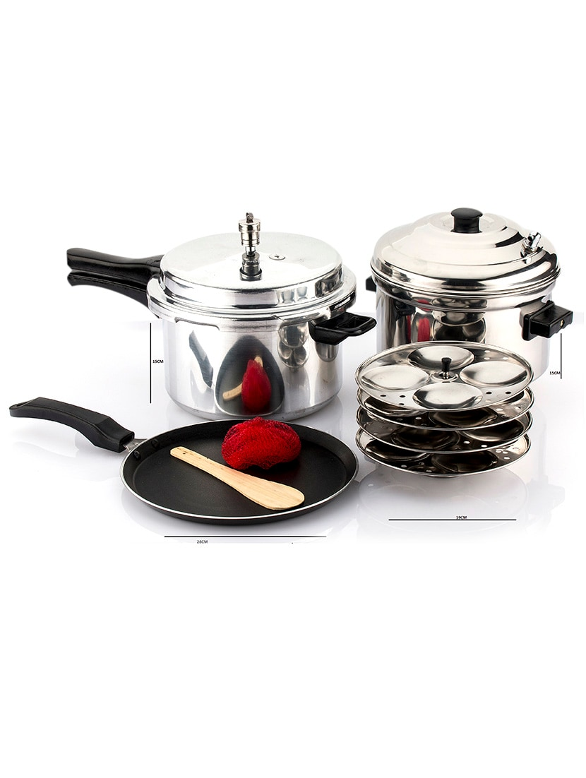 Induction Pressure Cooker 5 0 Liter And Non Stick Dosa Tawa With Idly Cooker Set Of 3 Pcs