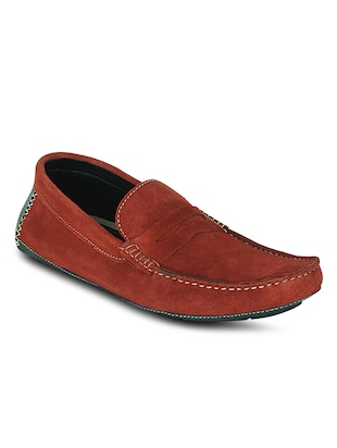 red suede leather slip on loafers