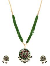 Green Metal Alloy & Beads Pendant Set - Art Mannia