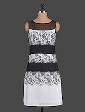 Monochrome Printed Polyester Dress - Eavan