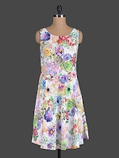 White Floral Printed Rayon Dress - Eavan