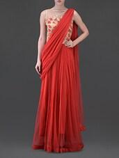 Sheer Back Embroidered Net Drape Maxi Dress - Eavan