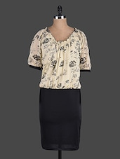 Beige And Black Blouson Dress - Eavan