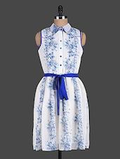 White Printed Sleeveless Dress - Eavan
