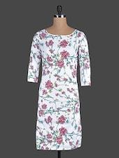 White Floral Printed Bodycon Dress - Eavan