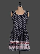 Black Printed Polyester Dress - Eavan