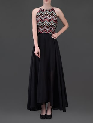 geometric print black maxi dress -  online shopping for Dresses