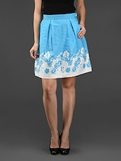 Sky Blue Floral Printed Cotton Skirt - Eavan