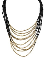 Multilayered Black & Golden Beads Neckpiece - Crunchy Fashion