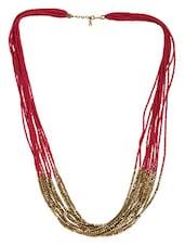 Multilayered Pink & Golden Beads Neckpiece - Crunchy Fashion