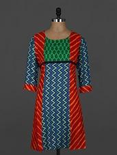 Multicolor Chevron Printed Cotton Kurti - Sale Mantra