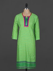 Green Three Quarter Sleeve Cotton Kurti - Sale Mantra