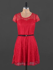 Red Lace Dress - Xniva