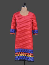 Red Polka Dots Printed Cotton Kurta - Swanky