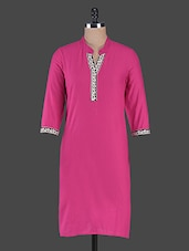 Magenta Cotton Kurta With Lace Detailing - Swanky