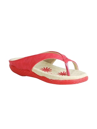 red leatherette flip flops