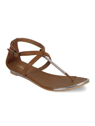beige leatherette sandals