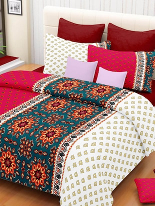 Ahmedabad cottton Red, Blue, White Cotton bedsheet set