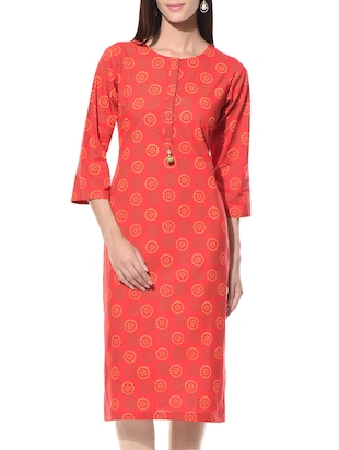 Red printed round neck cotton kurta