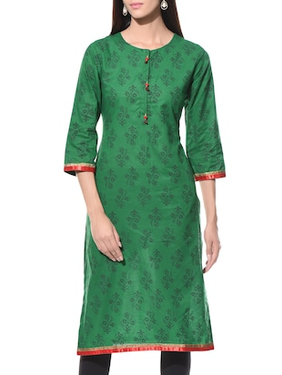 Green printed round neck cotton kurta