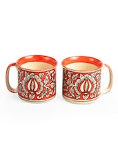 Orange And Off-White Mughal Art Mug (Set Of 2) - By