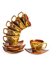 Warli Painting Cup And Saucer Set - Cultural Concepts