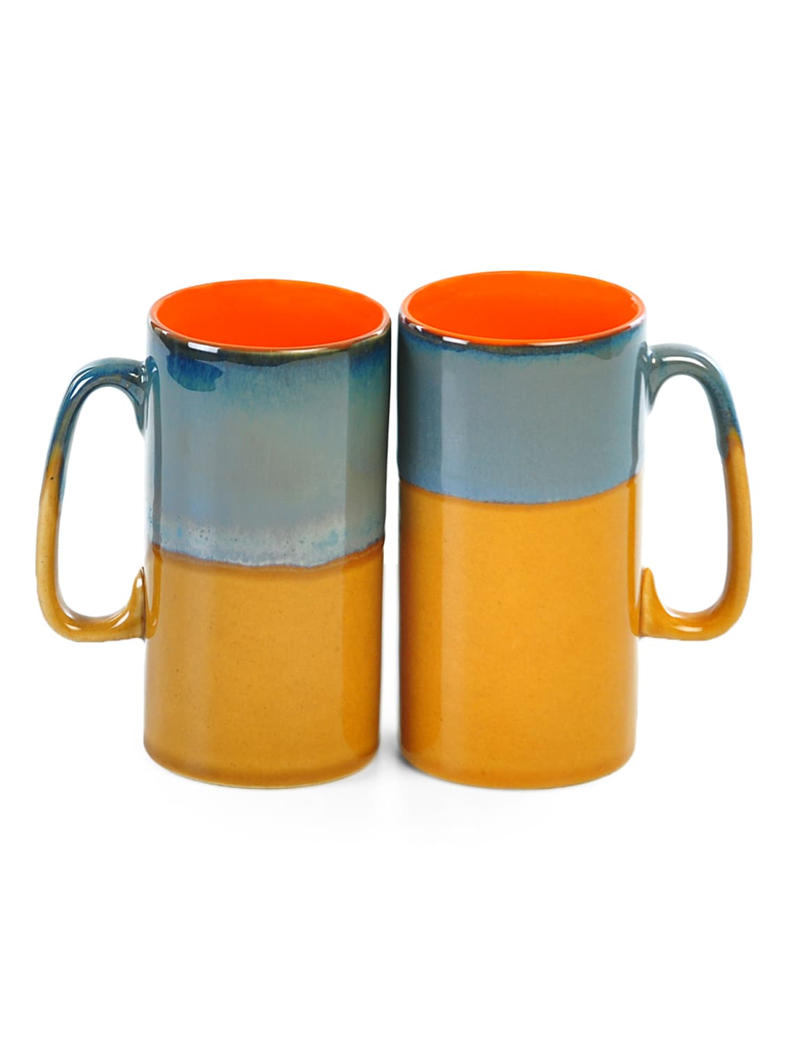 Mustard And Grey Ceramic Beer Mugs (Set Of 2) - Cultural Concepts