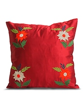 Red Poly Silk Single Cushion Cover - By