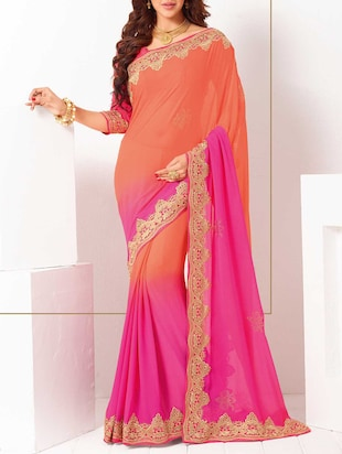 pink , peach georgette bordered  saree