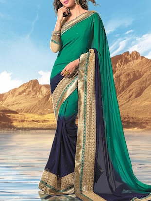 green , navy blue faux georgette saree