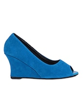 Blue Peep Toe Wedges - Footsie