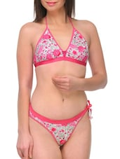Pink Cotton Printed Bra And Panty Set