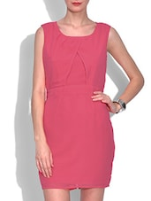 Pink Polyester Plain Sleeveless Bodycon Dress - By