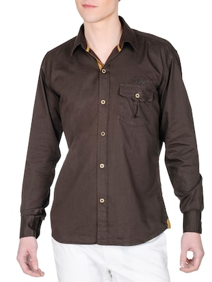 chocolate brown cotton casual shirt