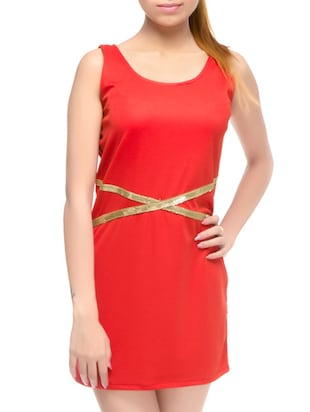 red viscose dress