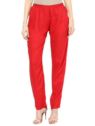 Solid red rayon trousers -  online shopping for Trousers