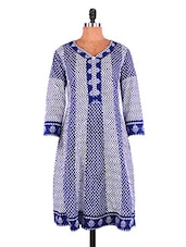 Blue And White Printed Cotton Kurti - Jashn