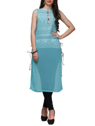 sky blue poly georgette long kurta