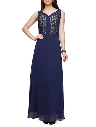 navy blue georgette aline dress