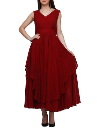 maroon georgette aline dress