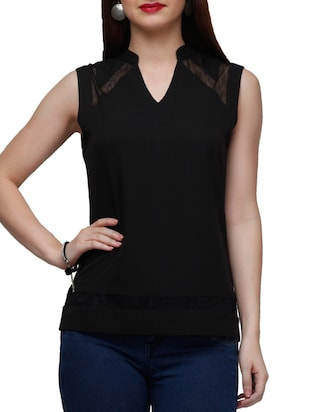 black poly crepe regular top