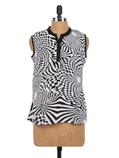 Monochrome Mandarin Collar Sleeveless Top - Globus
