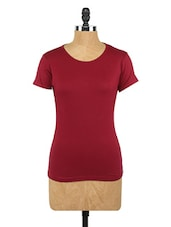 Plain Maroon Round Neck Knit Top - Globus