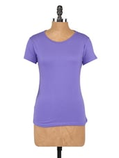 Plain Purple Round Neck Knit Top - Globus