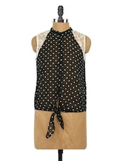 Polka Dots Front Knot Tie-Up Top - Globus