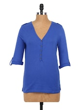Plain Blue  Roll-up Sleeves Knit Top - Globus