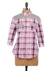 Checks Print Shirt With Contrast Grey Yoke - Globus