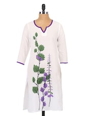 White Leaf Printed Sleeveless Kurti - Globus